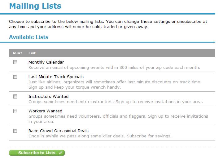 Mailing List Options
